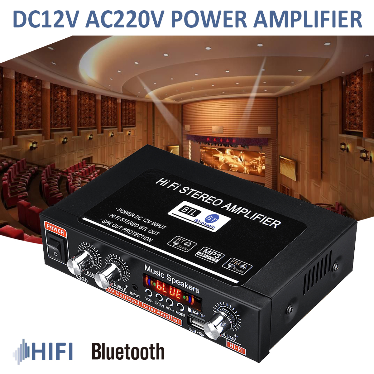 Home Car Bluetooth Audio Powers Amplifier High Fidelity Bluetooth Auto Tuning Amplifier 2CH Stereo Car Subwoofer With Remote 90W