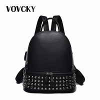 Designer Brand Luxury Women Backpack Black Small Rivet Bagpack School Bags For Teenage Girl Travel Genuine Leather Backpack 2019