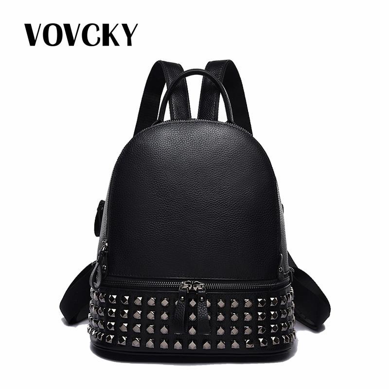 Designer marque de luxe femmes sac à dos noir petit Rivet sac à dos sacs d'école pour adolescente voyage en cuir véritable sac à dos 2019