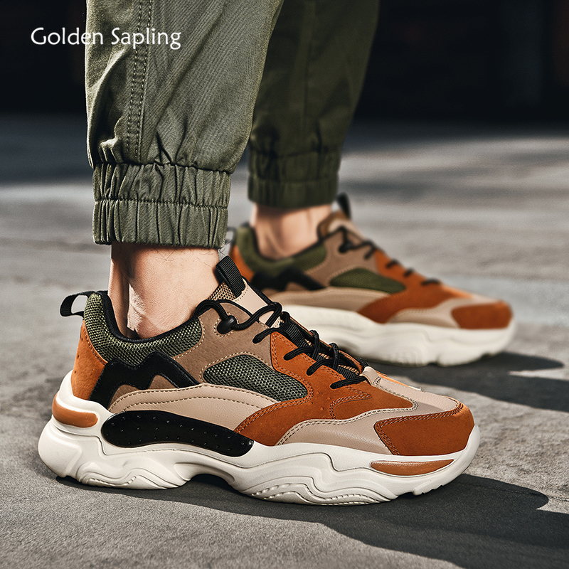 Golden Sapling Summer Sneakers For Men Breathable Air Mesh Running Shoes Retro Style Platform Sneaker Trainer Jogging Sport Shoe