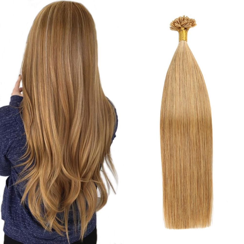 Gazfairy U Tip Hair Straight Remy Keratin Capsules Human Fusion Hair Nail U Tip Pre Bonded Hair Extensions 22 Inch 1g/s 50g 100g