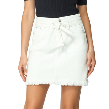 Straight Denim Jeans Above Knee Mini Empire Lace-up Pockets White Solid Street Casual Skirt