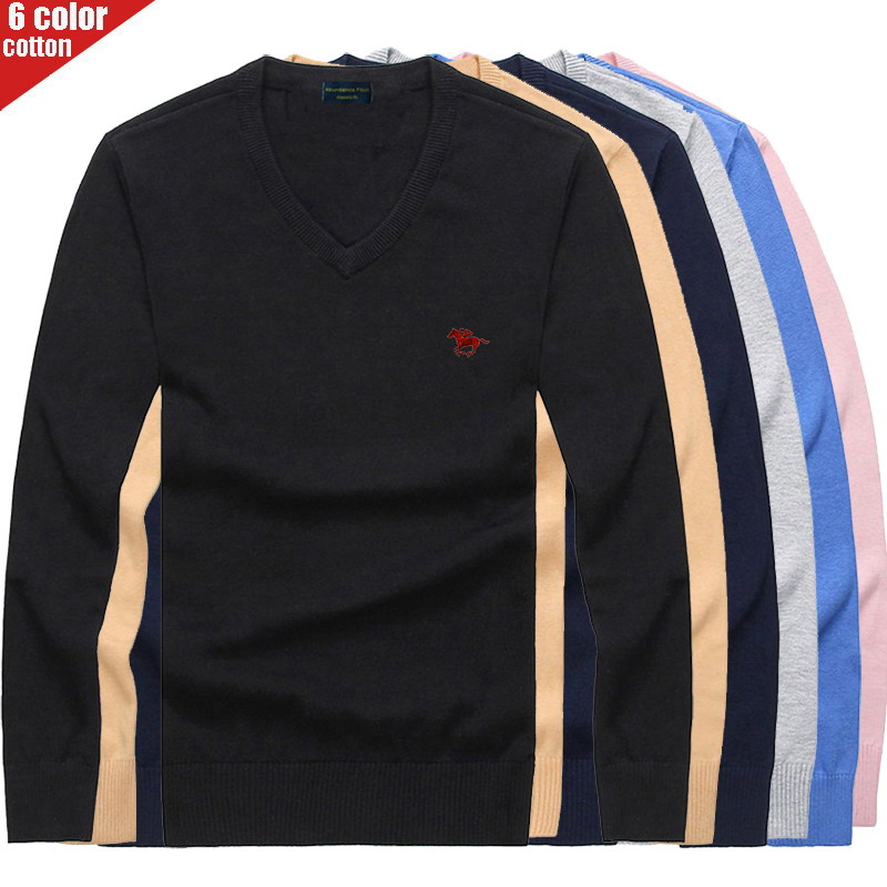 2019 New Embroidered Polo Logo Sweaters Men Pullover Solid Color Slim Fit Jumpers Knitred V Neck Autumn Style Casual Men Clothes