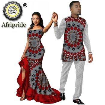 African Couple Outfits Men and Women Matching Clothing Wear Wedding Party Wax Print Fashion Design Traditional AFRIPRIDE S20C009 fashion stripes and color matching design money clip for men