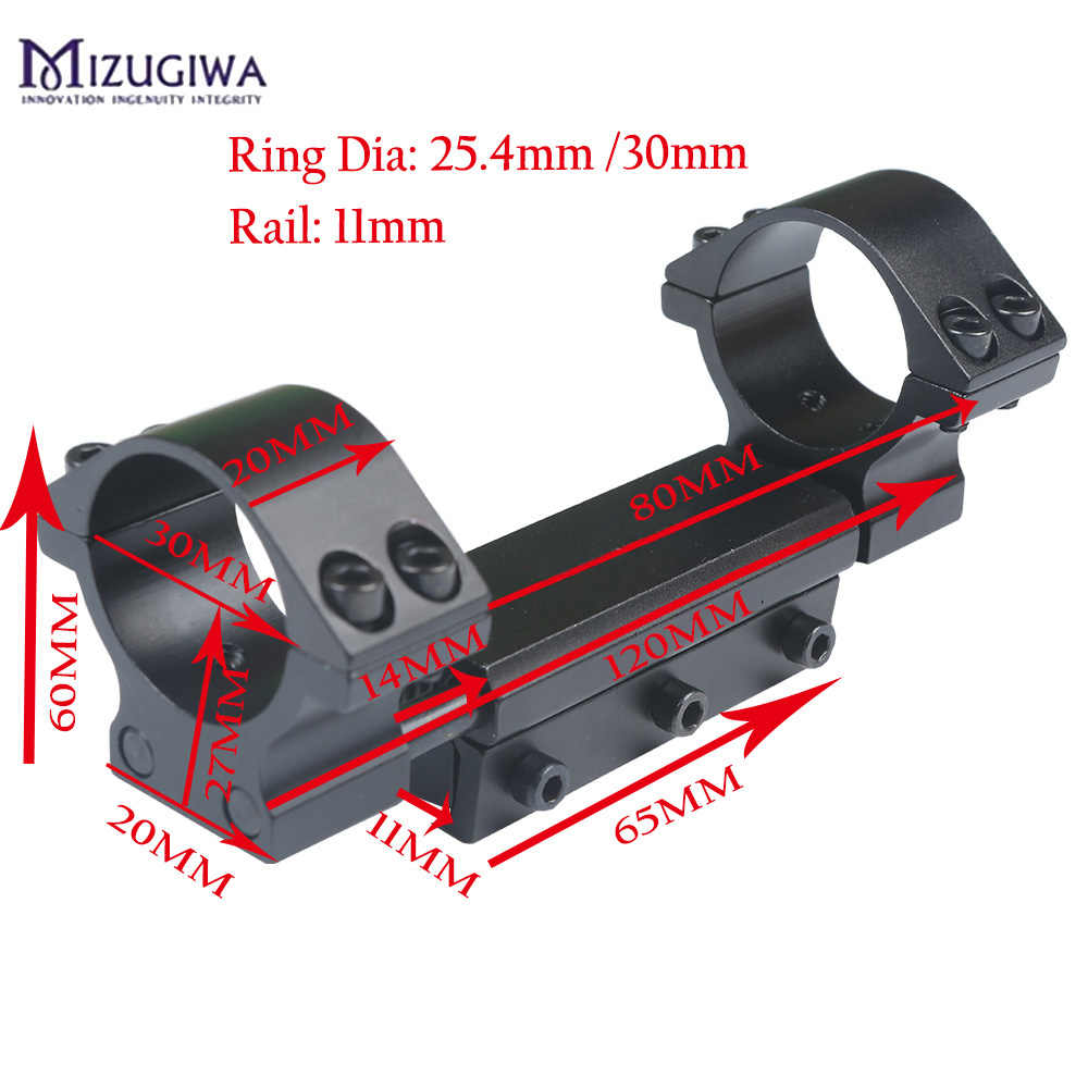 Mizugiwa One ชิ้น Airgun แหวน 25.4 มม./30 มม.W/STOP PIN ADAPTER 11 มม.RIS Picatinny RAIL Dovetail Weaver ปืน Airgun ปืนไรเฟิล