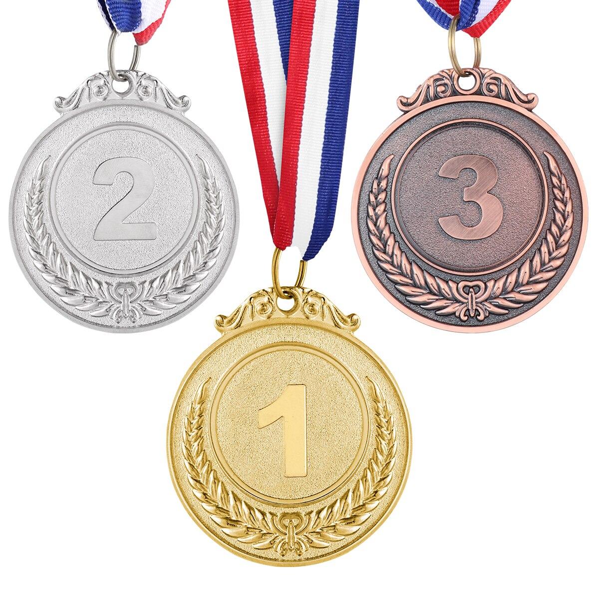 Medallas de Ganador de Metal en Estilo Ol/ímpico de Color de Oro Plata Bronce para Juego y Fiesta 15
