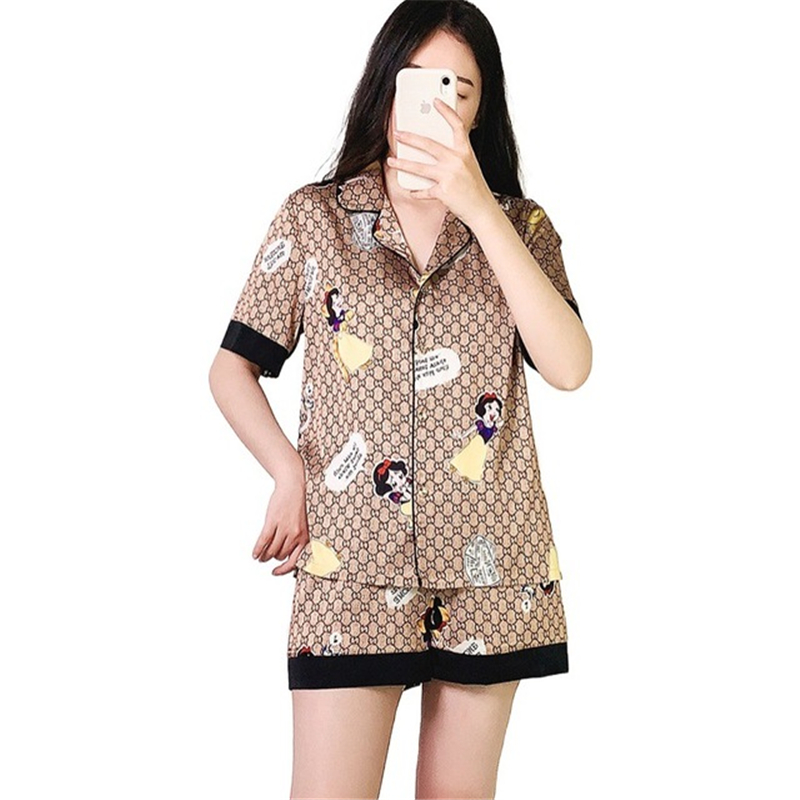 Pajamas female cartoon cardigan spring and summer rayon short sleeved shorts home service suit casual loose sexy Nightwear 2020|Pajama Sets| - AliExpress