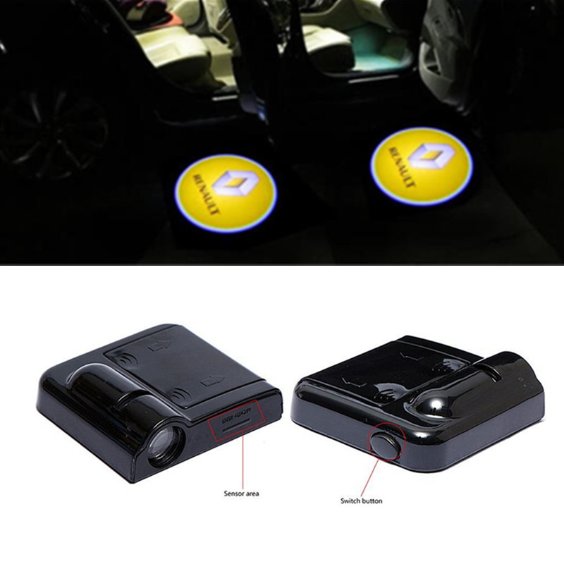 <font><b>LED</b></font> Car Door Courtesy Laser <font><b>Logo</b></font> Projector Light For <font><b>Renault</b></font> Logan Megane 3 Duster Laguna 2 Clio Fluence Scenic Captur light image