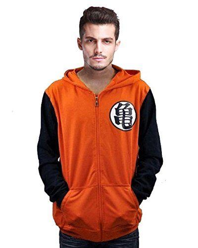 Cos-go Dragon Ball Z Goku Kame Symbol Orange Zip Hoodie Size L Color Orange