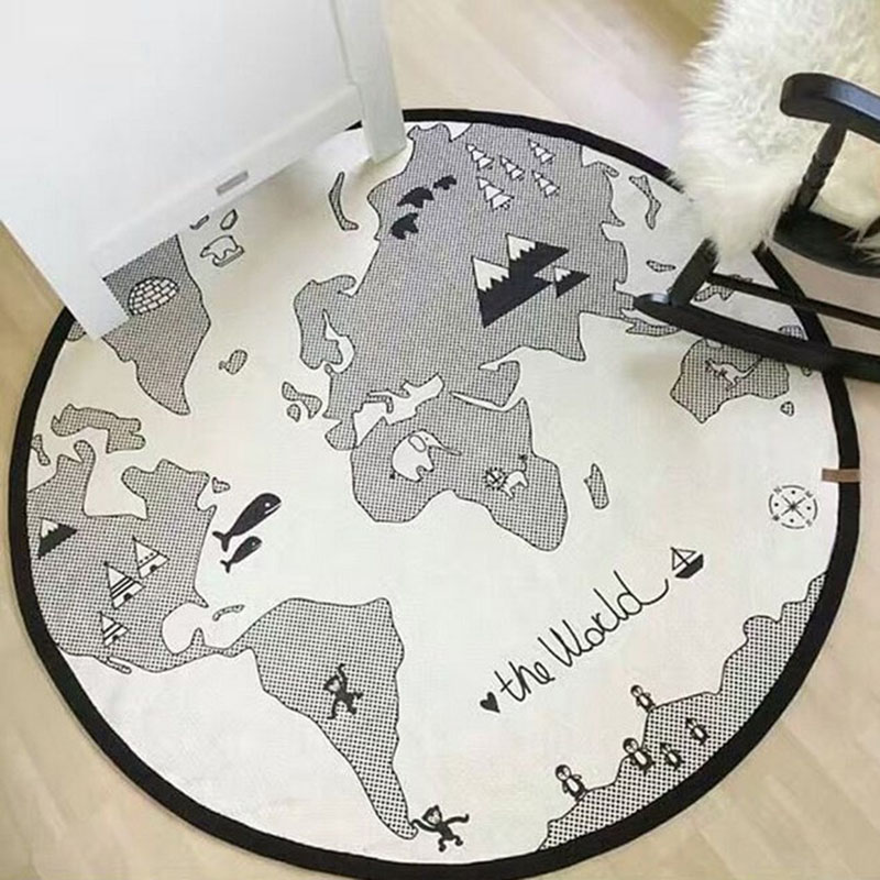Cartoon Baby Crawling Mat Round Maze World Map Game Pad Kids Cotton Crawling Blanket Floor Carpet Play Rug Toys