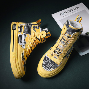 Image 3 - 2020 nuovi uomini di alta top scarpe marea scarpe casual di stile di sport di tendenza giovanile di bordo casuale Coreano di alta top velcro scarpe scarpe da tavolo uomini