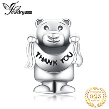 JewelryPalace 925 Sterling Silver Apology Gifts Friendship Teddy Bear Charm Beads For Women 2018 New Hot Sale Beautiful