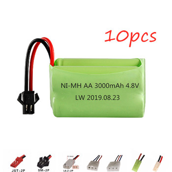 ( T Model ) 10pcs 4.8v Rechargeable Battery 4*AA Battery Pack 4.8v 3000mAh NiMH Battery For Rc toys Cars Boats Guns Parts