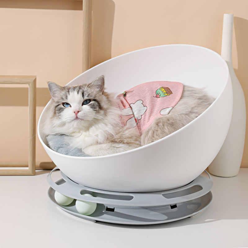 עגול לשחק חתול מיטת בית רך ארוך קטיפה חתול מיטת מיטת כלב עגולה קטן חתולי כלבי קן חורף חם שינה מיטת גור מחצלת