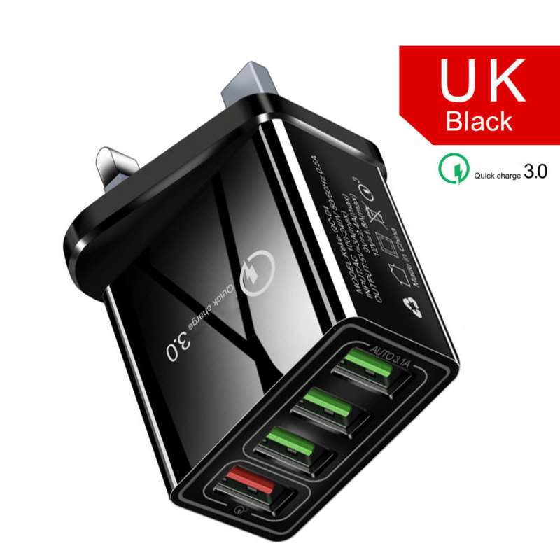 Распродажа, практичный 4-USB концентратор, настенное зарядное устройство, адаптер питания с вилкой US/EU/UK, портативный QC 3,0, быстрый зарядный ад...