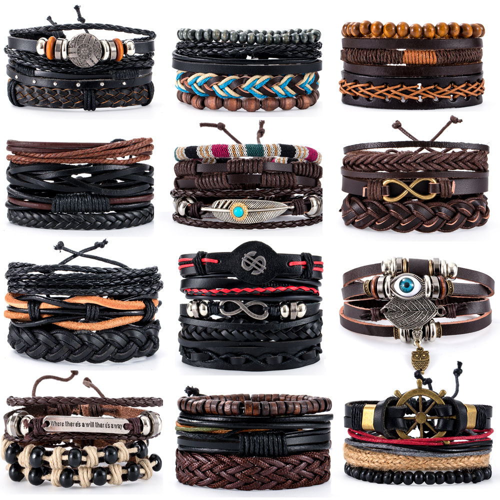 38 Style Retro Metal Leather Bracelets Sets Men Jewelry Vintage Handmade Anchor Charm Bracelet Bangles Homme Male Jewelry Gifts(China)