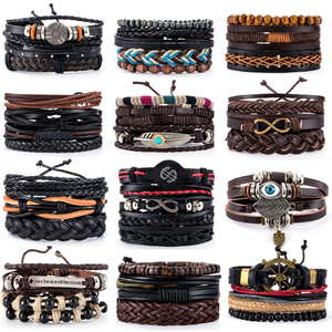 38 Style Retro Metal Leather Bracelets Sets Men Jewelry Vintage Handmade Anchor Charm Bracelet Bangles Homme Male Jewelry Gifts