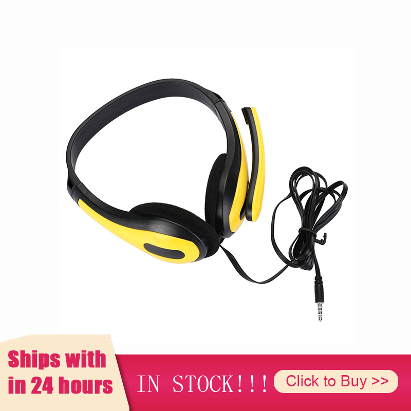 Headphones Stereo Computer Tablet Gamer Laptop Over-Ear-Gaming Yellow Blue with for PC