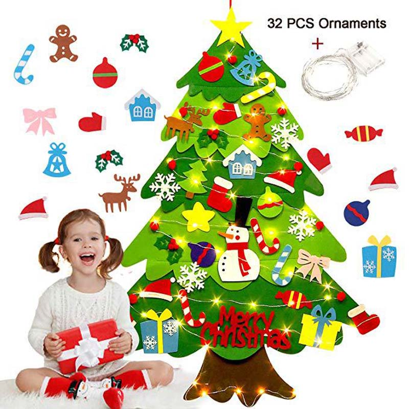 DIY Crafts Toys Felt Christmas Tree Snowman With Ornaments Fake Christmas Tree Kids Toy Christmas Party Decoration New Year 2019