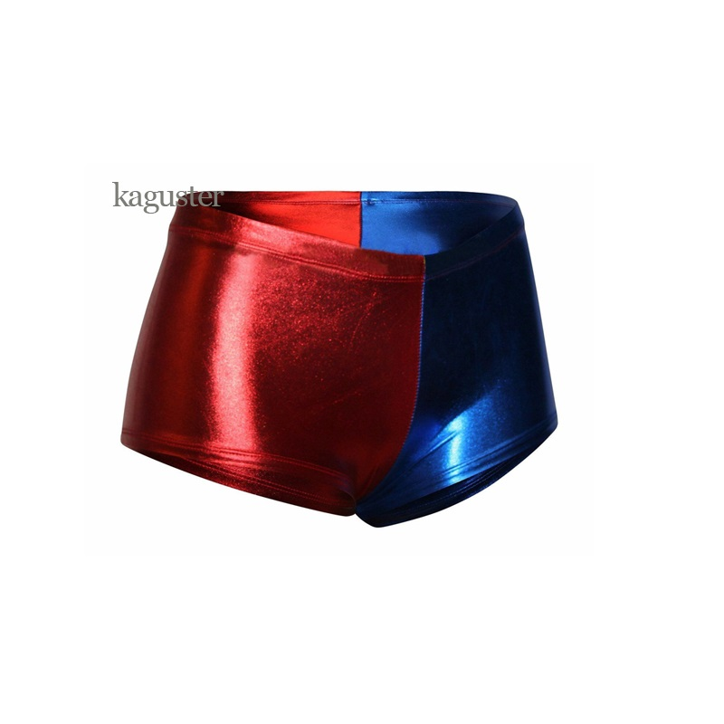 Women Harley Quinn Metallic Shorts Red Blue Hot Pants Knickers Costume