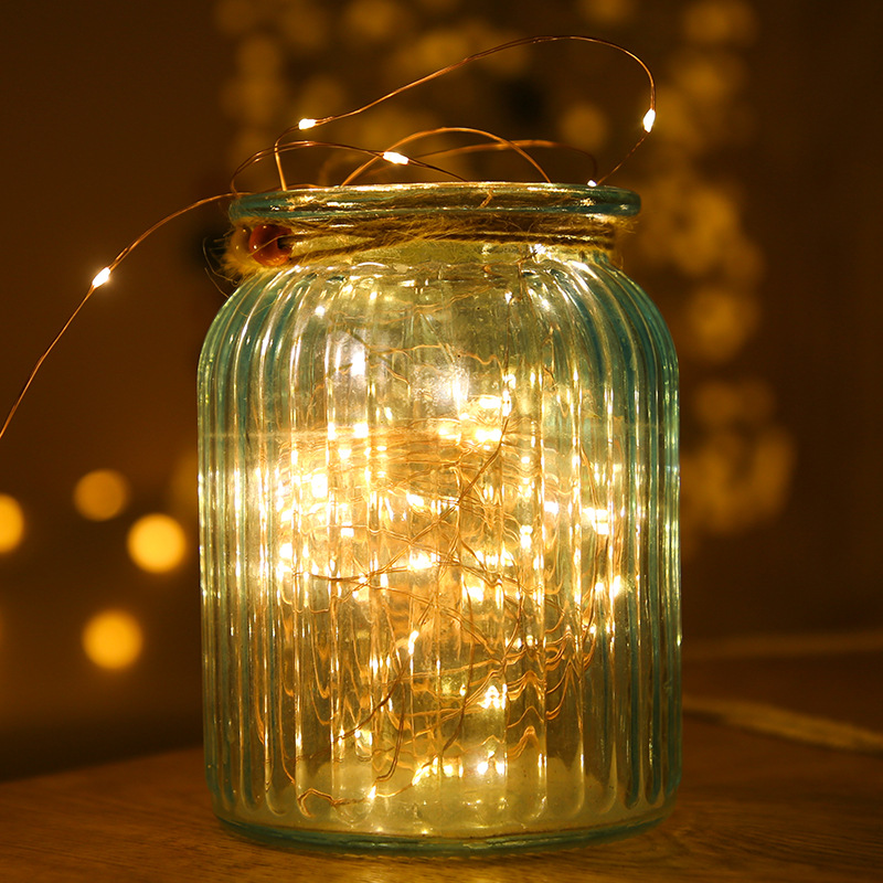 Feimefeiyou 50 100 LED Outdoor Light String Fairy Garland Battery Power Copper Wire Lights For Party Christmas Wedding 5 Colors 5