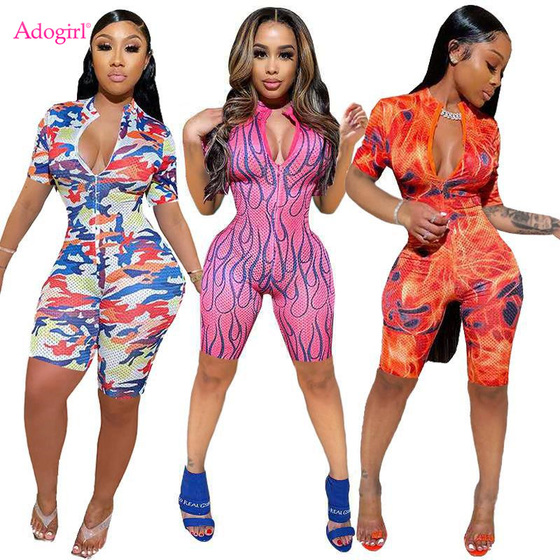 Adogirl Sexy Tie Dye Print Skinny Jumpsuit Front Zipper Short Sleeve Shorts Tracksuit New Fashion Female Romper Overall Onesies