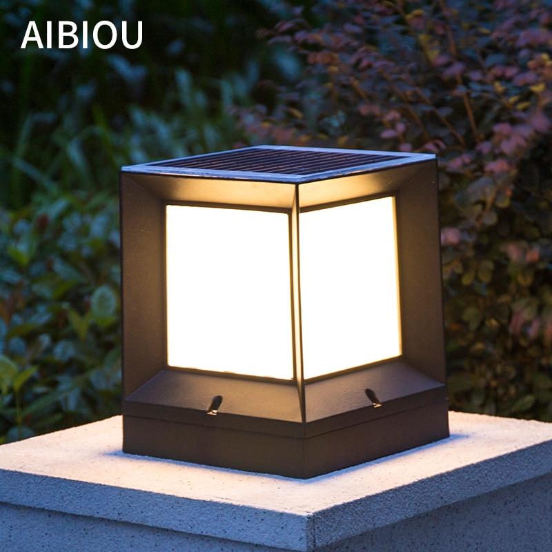 AIBIOU Modern IP55 Solar 4W LED Waterproof Landscape Lightings Outdoor Pillar Lamp Garden Lamp Black Aluminum Villa Post Lamps