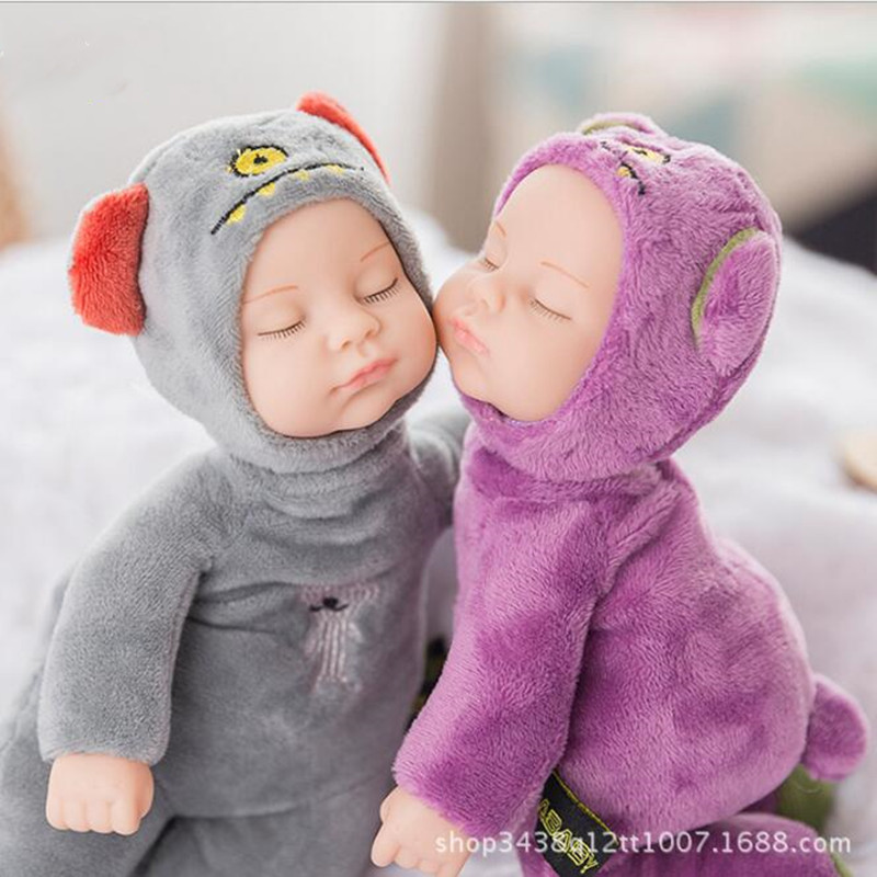 2020 New 23CM Plush Stuffed Toys Baby Dolls Reborn Colorful Sleep Doll Toy For Kids Sleep Kids Plush doll For Girl Toys Gift