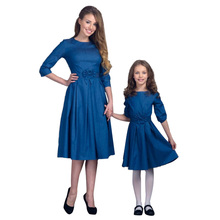 New Family Look Mom and Daughter Dress Clothing Three Quarter Sleeve Women Kid Girl Baby Bow Matching Clothes