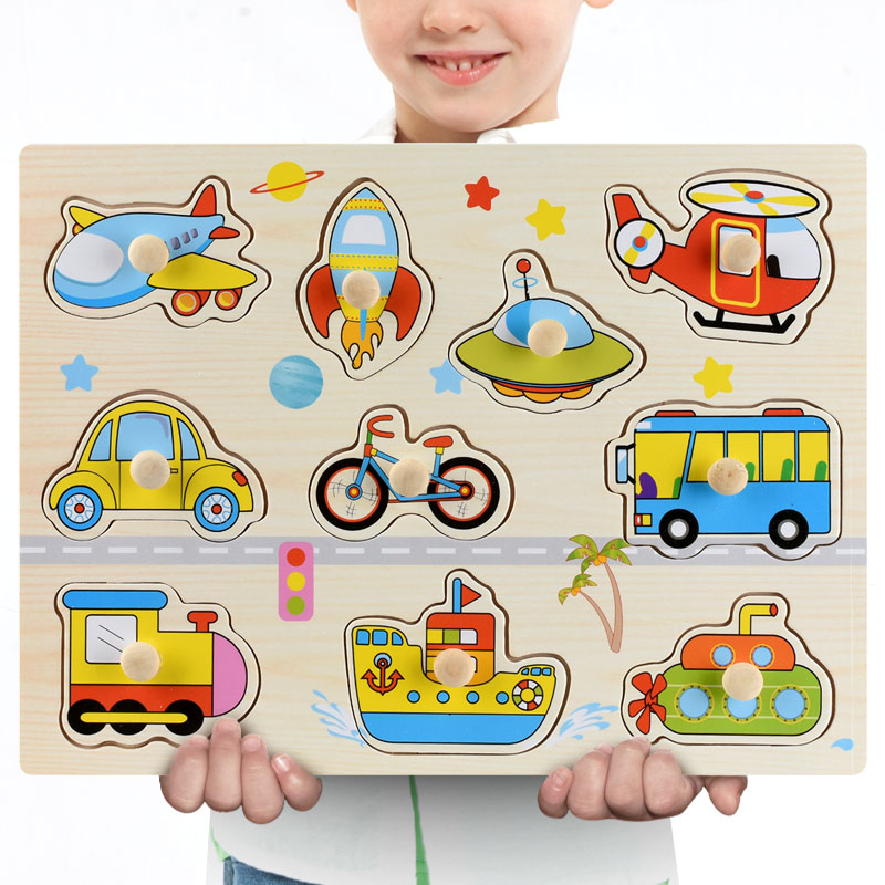 Montessori Wooden Puzzles Hand Grab Boards Toys Tangram Jigsaw Baby Educational Toys Cartoon Vehicle Animals Fruits 3D Puzzles 13