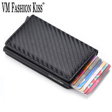 VM FASHION KISS men Cardholder Mini RFID Blocking Wallet Automatic Credit Card Business Card Holder Wallet Hold 7 Cards purse(China)