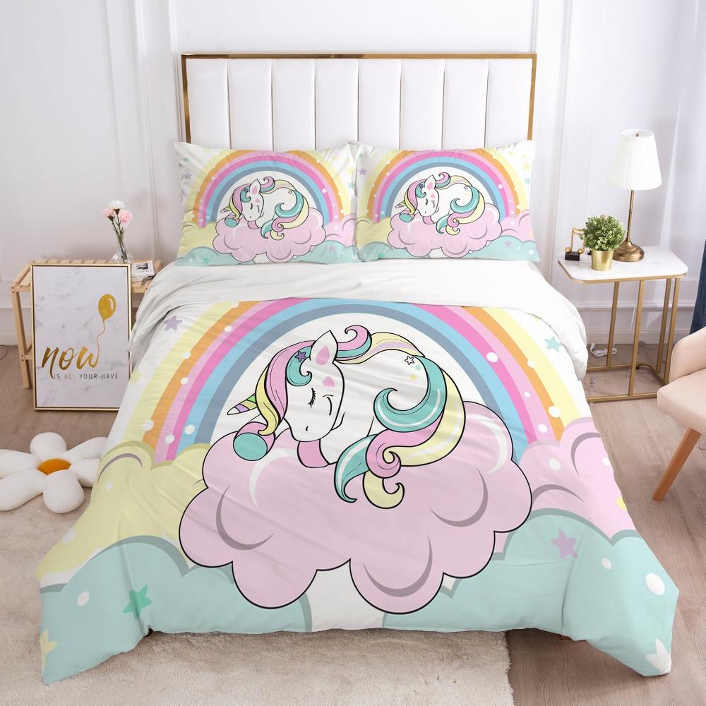 Cartoon Duvet Cover Set 3D Unicorn Children Bedding Set For Kids Baby Blanket Cover Pillowcases Girls Single Twin King Bed Set