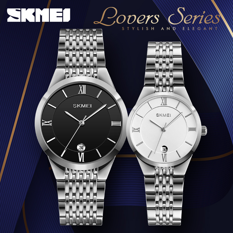 Quartz Watch For Women Men Stainless Steel Couple Watches Date Display Wristwatch Waterproof Women's Men's Clock Brand SKMEI