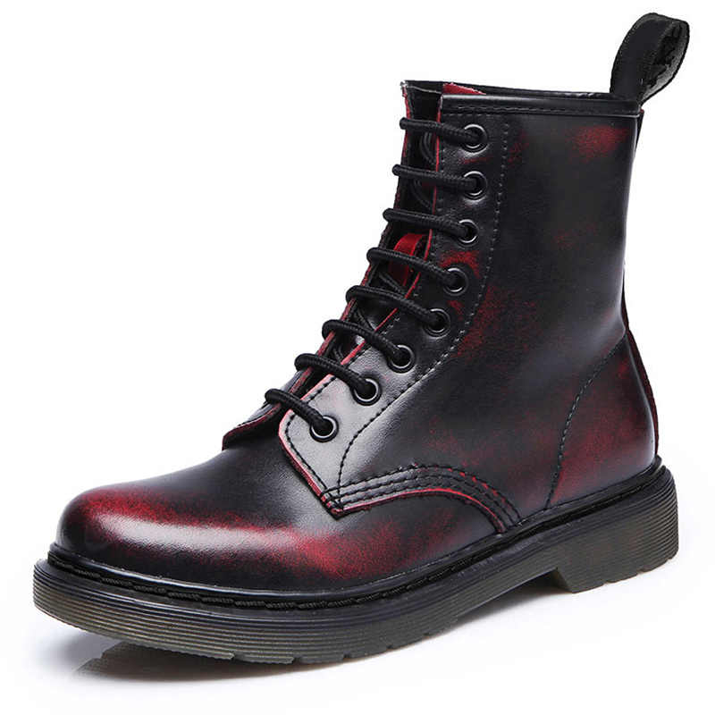 Nam Giày Mùa Xuân 2020 Mắt Cá Chân Giày Boots Mùa Đông Chính Hãng Giày Da Người LALANG Đi Equestr Botas Hombre Plus Kích Thước 46