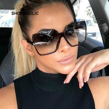 Czarny kwadrat ponadgabarytowe okulary przeciwsłoneczne damskie duże oprawki kolorowe okulary przeciwsłoneczne kobiece lustro Oculos Unisex gradientowe odcienie Hip Hop tanie i dobre opinie SHOPAHOLIC WOMEN SQUARE Dla dorosłych Z tworzywa sztucznego Antyrefleksyjną UV400 57mm Z poliwęglanu 60mm