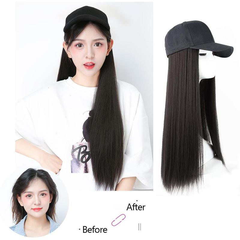 1 PCS Brown Black Adjustable Women Hats Long Straight Hair Extensions With Black   Cap   Wig All-in-one Female   Baseball     Cap