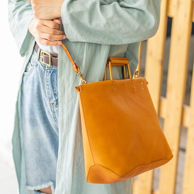 Nuevo bolso retro de cuero para mujer, bolso de hombro para mujer, bolso bandolera de cuero genuino para mujer - 4
