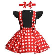Симпатичные для маленьких девочек комплект одежды платье «Минни Маус», костюм для Cake Smash дня рождения, платье для маленькой девочки одежда для девочек на подтяжках одежда для фотосессии