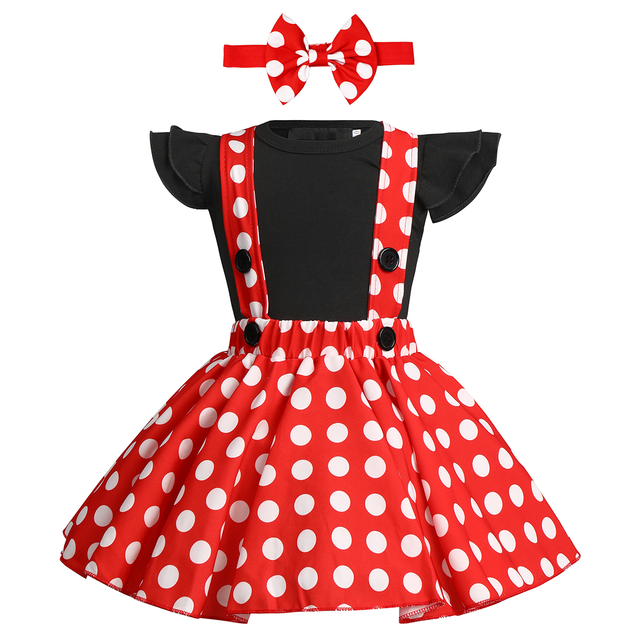 Cute Baby Girl Clothes Set Minnie Dress Cake Smash Outfit Girl Baby Birthday Clothes Suspender Girls Clothes for Photo Shoot