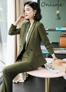 Autumn and Winter Novelty Green High Quality Fabric Formal Women Business Suits with Pants Jackets Coat Blazers Pantsuits