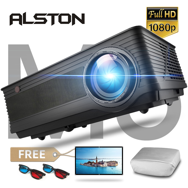 Проектор мультимедийный ALSTON M5/M5W, кинопроектор Full HD 1080P, 4K, 6500 лм, Android, Wi-Fi, Bluetooth, HDMI/VGA/AV/USB, с подарком