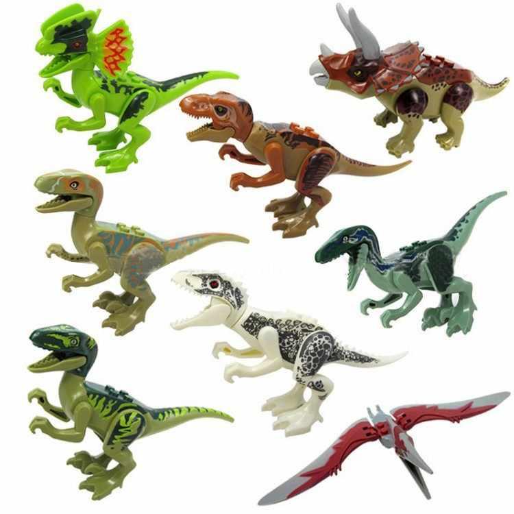 Lockings Jurassic Park Dinosauro Raptor Del Mondo di Dinosauri zona di protezione Building Blocks Set Giocattolo Per Bambini giocattoli Animali Kit