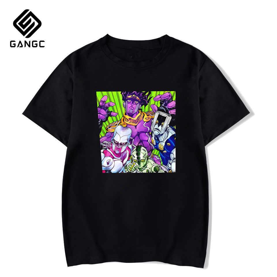 Jojos Bizarre Adventure fajne męskie koszulki Fashion Design mężczyźni Casual Anime Hip-Hop Harajuku Streetwear letnia odzież T-Shirt