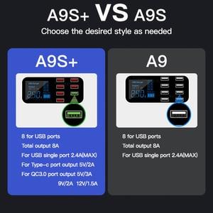 Image 3 - 8 bağlantı noktalı USB araç şarj cihazı QC3.0 hızlı şarj telefon şarj cihazı 40W 2.4A çok USB soketi için LED ekran ile iPhone Android Samsung
