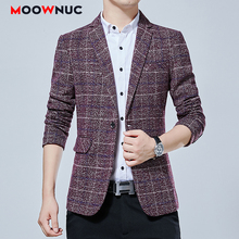 Autumn New Men Blazers Smart Casual Groomsman Suits Coverall Slim Fashion Coats Wedding Brand Male Hombre MOOWNUC