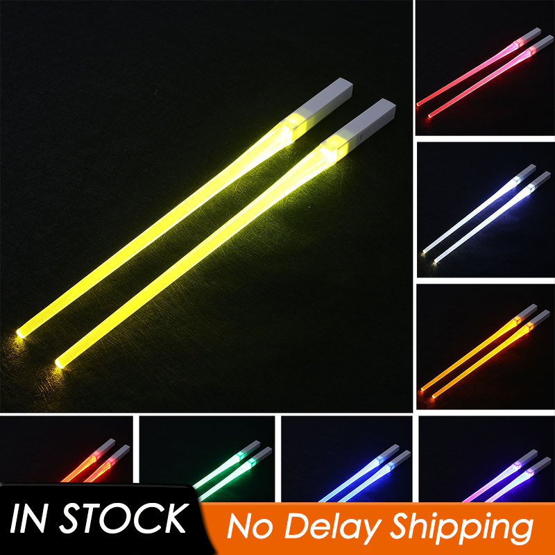 LED Lightsaber Chopsticks Reusable Light Up Chopstick Kitchen Party Tableware Creative Durable Light Glowing Chopstick Gifts