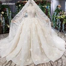 HTL503 di lusso della principessa abiti da sposa con il treno o collo manica lunga fiori abiti da sposa con velo da sposa abito da sposa gotico