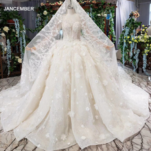 HTL503 luxury princess wedding dresses with train o neck long sleeve flowers bridal gowns with wedding veil gothic wedding dress