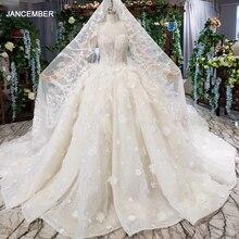 Htl503 luxo princesa vestidos de casamento com trem o pescoço manga longa flores vestidos de noiva com véu de casamento vestido de casamento gótico