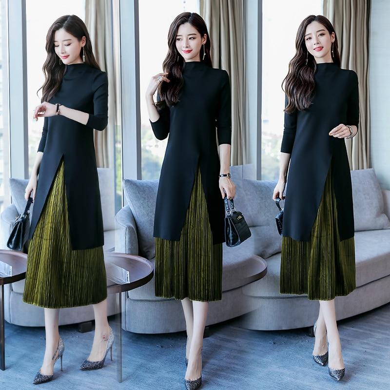 Goddess Fan Dress Two-piece Women 2018 Autumn New Small Breeze Temperament Thin Hong Kong Fashion A-line Skirt